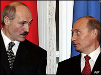 Presidents Lukashenko (left) and Putin in St Petersburg, 24 Jan 06