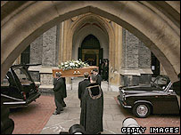 John Profumo's coffin is carried from St Paul's Church