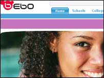 Screengrab of Bebo homepage, Bebo