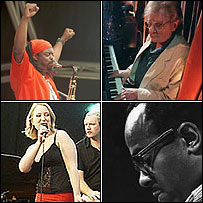 Top left and clockwise: Courtney Pine, Stan Tracey,  Benny Golson and Gwyneth Herbert