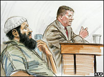 Courtroom drawing shows Zacarias Moussaoui listening to Harry Samit testify