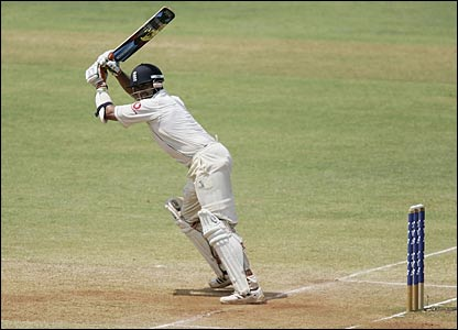 England's Owais Shah plays a cut shot