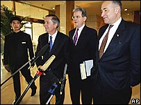US Senators (from left) Charles Schumer, Tom Coburn and Lindsay Graham