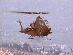 Israeli helicopter attacking Hezbollah