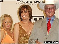 (L) Charlene Tilton, Linda Gray and Larry Hagman