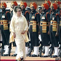 Khaleda Zia during the guard of honour in Delhi