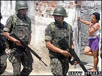 Brazilian soldiers patrolling a shanty town in Rio de Janeiro, Brazil