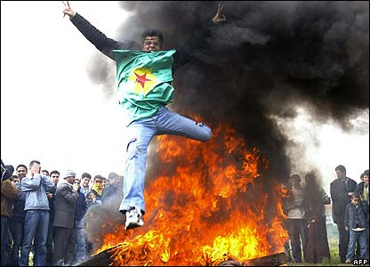 Kurds celebrate New Year with fire jumping in Istanbul