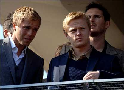 Chelsea stars Eidur Gudjohnsen, Damien Duff and Frank Lampard