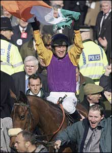 Paul Carberry celebrates his win on Nicanor