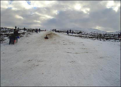 Harry Knox sledging on the Horseshoe Pass, Llangollen (Sandra Forkin)