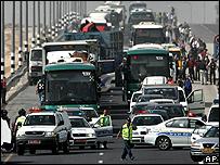 Traffic backed up on the main Tel Aviv-Jerusalem motorway