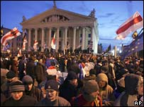 Opposition supporters in central Minsk, 21 Mar 2006