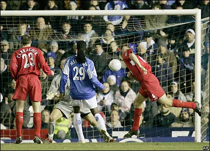 Birmingham fail to deal with a Steven Gerrard free-kick allowing Sami Hyypia to score from close range