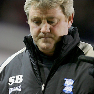 Birmingham City manager Steve Bruce is a disappointed man at half-time