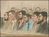 Artist's impression of defendants in court (Artist: Julia Quenzler)