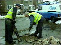 Road digging (BBC)