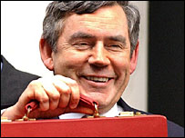 Gordon Brown and his Budget box in 2005