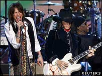 Aerosmith on stage at the Grammy Awards