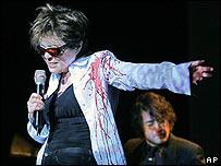 Yoko Ono and Sean Ono Lennon on stage