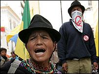 Protesters in Ecuador