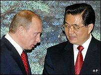 Russian President Vladimir Putin (L) and Chinese counterpart Hu Jintao