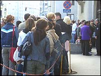 Queuing outside the Austrian Embassy