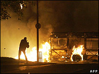 Rioting in France in 2005, partly blamed on racial discrimination