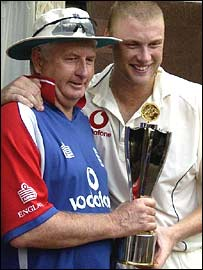 Fletcher and Flintoff with the series trophy