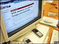 """Página web de diario """"Gara"""" anunciando el cese al fuego."""