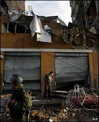 Police at the scene of one of the explosions in La Paz, Bolivia
