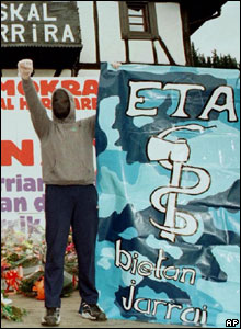 An Eta supporter raises a fist
