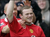 Wayne Rooney celebrates scoring for Manchester United - one of the most high-profile Premiership clubs