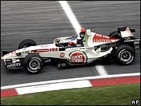 Rubens Barrichello in his Honda at the Malaysian Grand Prix