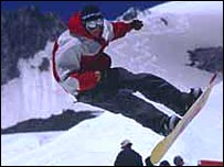 Amputee snowboarder Thayne Mahler