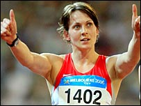 Kelly Sotherton celebrates her gold medal
