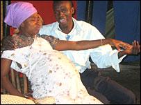 Actors Thembi Ngwabi and Mandhla Moyo playing Marwei and Noah