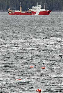 Lifejackets from the Queen of the North float in the water near the Canadian coastguard vessel WE Ricker