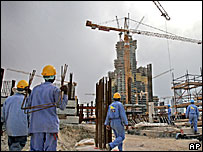 Workers at construction site of Burj Dubai