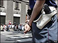 Muslim prayers overflow into the street in Milan