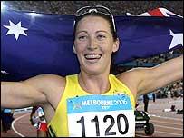Jana Pittman celebrates her victory in the 400m hurdles