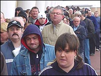 Supporters queuing for LDV Trophy final tickets, which went on general sale in Swansea on Thursday