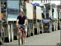 Queue of lorries.  Image: PA
