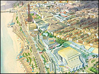 Artist's impression of the planned casino and conference quarter, Blackpool