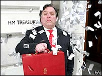 "'Gordon Brown"" (James Langley) campaigning for an end to VAT on the sale of condoms, outside the Treasury"
