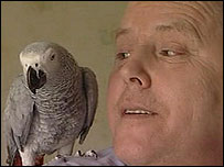 Peter Taylor with his parrot Merlin