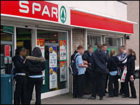 Gangs of youths outside the Spar shop