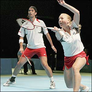 England's Nathan Robertson and Gail Emms have reached the mixed doubles final