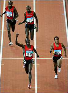 Ezekiel Kemboi Yano wins gold, Wesley Kiprotich Koech wins silver and Reuben Kosgei Seroney wins bronze lapping
