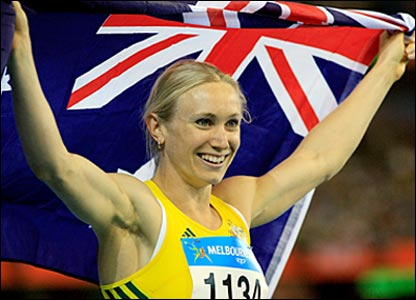 Australian Bronwyn Thompson celebrates winning the women's long jump final